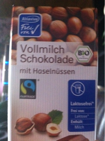 Alnaviva Vollmilch Schokolade mit Haselnüssen 100g