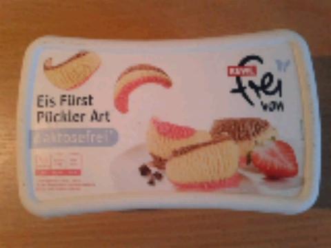 Rewe frei von Eis Fürst Pückler Art 900ml (Bourbon-Vanilleeis, Erdbeerfruchteis und Schokoladeneis)