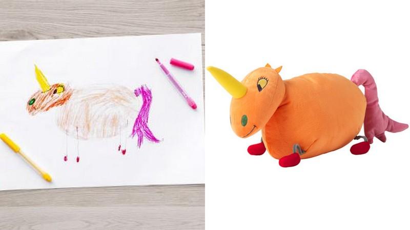 ikea hat kinderzeichnungen in kuscheltiere verwandelt. Black Bedroom Furniture Sets. Home Design Ideas