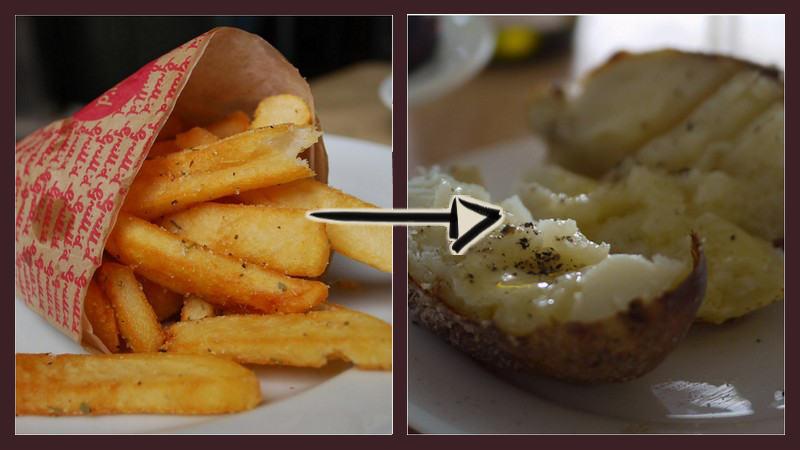 pommes und backkartoffel