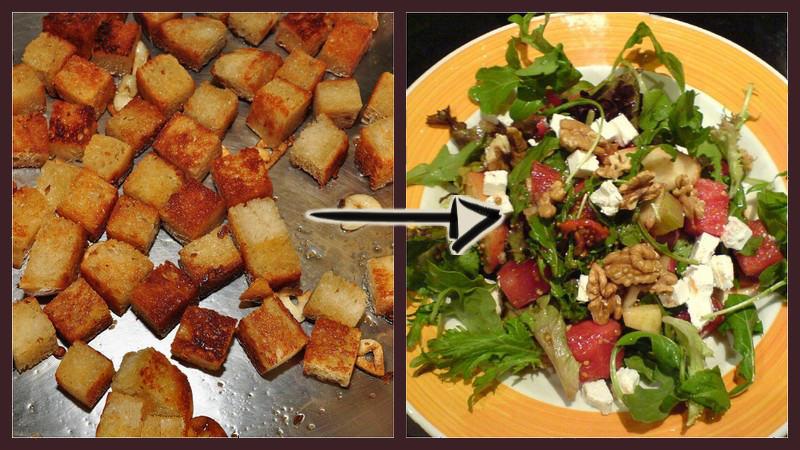 croutons und salat mit walnüssen