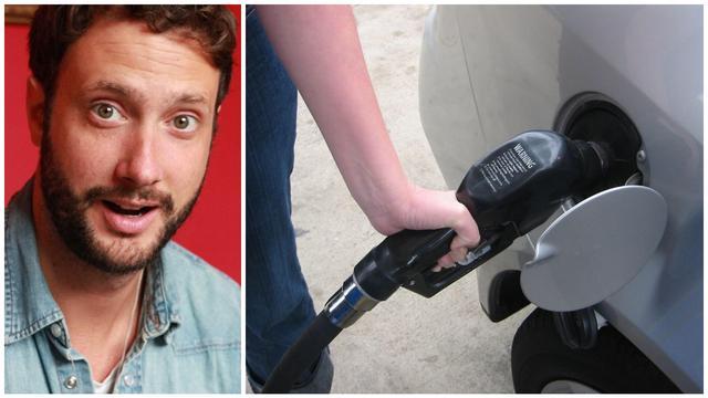Der Aluminiumkanister des Benzins